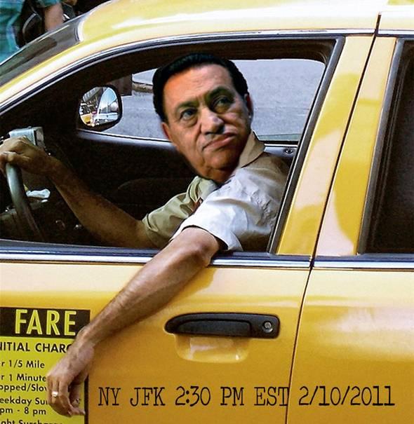 Mubarak driving a taxi