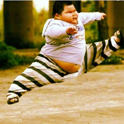 Asian fat kid jumping