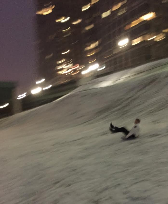 NYC cop sledding NYPD