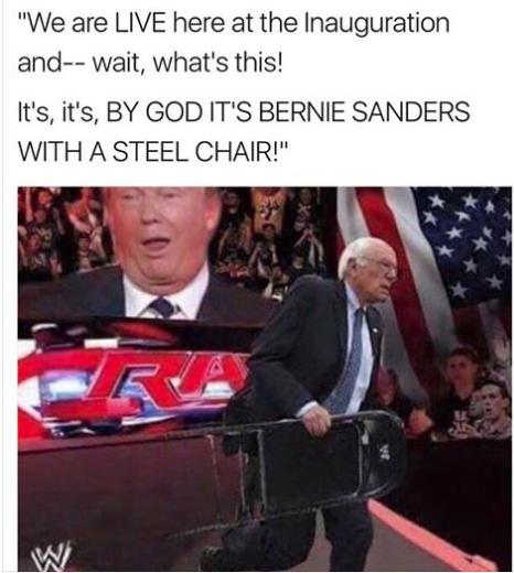 Trump wrestling Bernie